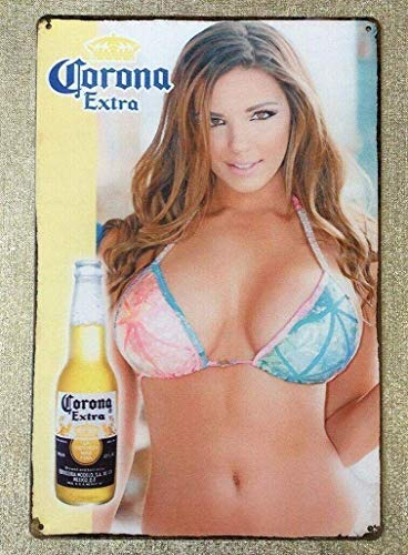 purl zither Tin Sign Vintage Chic Art Decoration Poster Corona Beer Pinup Girl Sexy Bikini Girl for Store Bar Home Cafe Farm Garage or Club 12' X 8'