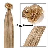 SEGO Extension Tie and Dye a Chaud Keratine Naturel - 40 cm 18P613#Ash Blond & Blond Blanchi [1g *50 Mèche] - Rajout Cheveux Humain