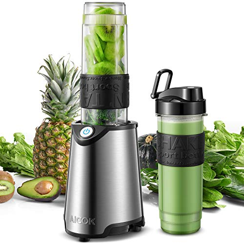 AICOK Frullatore portatile 2 in 1 per frutta e verdura, inclusa una bottiglia Tritan BPA FREE da 600mL, 4 Lama e Corpo in Acciaio Inox, Senza BPA, 23000 giri/min, 300W (Green)