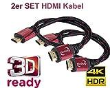 Lot de 2 câbles HDMI Haut de Gamme pour Une Meilleure Image et Une qualité sonore - Full HD, 4K HDR, Arc, Canal Ethernet 2X 1m...