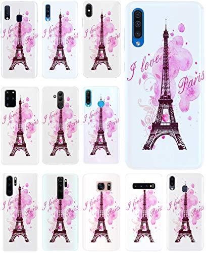 KUMO Hülle für Lenovo K5 Handyhülle Design 1078 Eifelturm Paris Frankreich Rosa Pink aus flexiblem Silikon SchutzHülle Softcase HandyCover Hülle für Lenovo K5