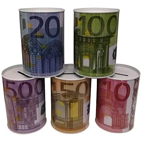 5 Stück Euro Scheine Metall Spardosen, Metallspardose, TOP Geschenkidee