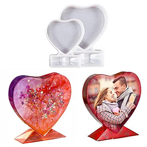 Moldes Resina para Marco Fotos Forma Corazón, Moldes Resina Epoxi, Moldes Silicona Manualidades, Regalos Personalizados para la Producción de Bricolaje, Regalos para Parejas, Regalos de Aniversario