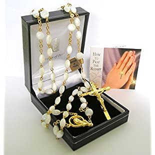 Customer reviews Genuine Mother Of Pearl Handmade Rosary Beads Gold Crucifix & Junction with Prayer Card