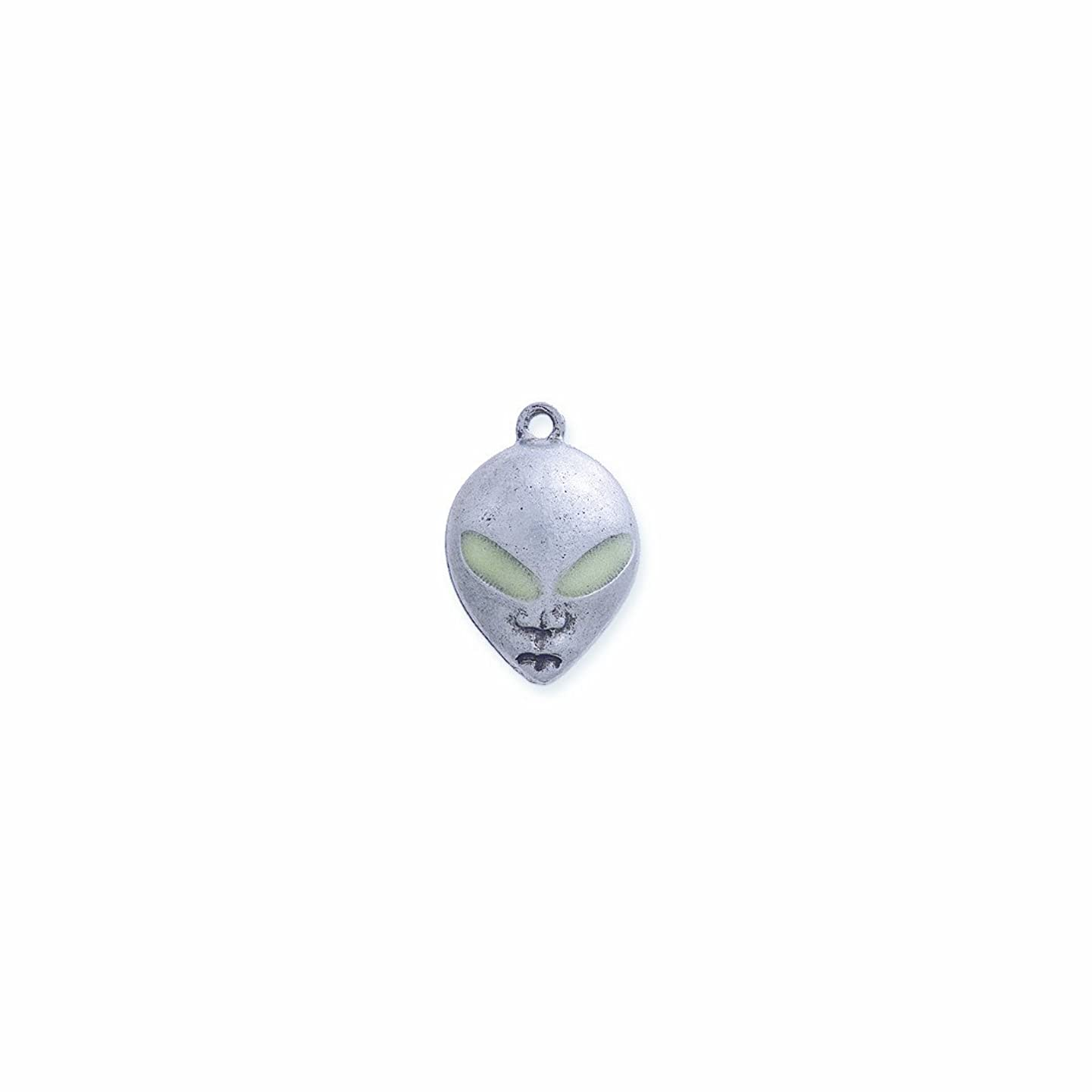 Shipwreck Beads Pewter Alien Assorted Glow Eyes Charm, Silver, 16 by 24mm, 2-Piece