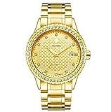 TEVISE Herren-Armbanduhr Automatik Edelstahl Gold Schwarz T807A