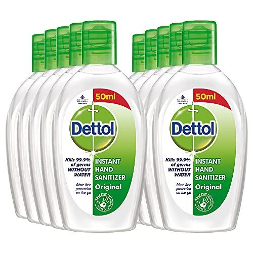 Dettol Hand Sanitizer Liquid Gel Flip-top (Pack of 10 – 50ml each | 70% Alcohol, Kills 99.9% Germs
