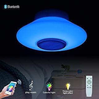Horevo Iluminación colgante con Altavoz Bluetooth regulable LED, 2120 lm lamparas colgantes de techo moderna Altura Adjustable, 30W Acrílico lamparas techo colgantes con control remoto
