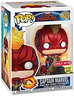 POP! Funko Marvel Capitán Marvel – Glow in the Dark Flying Capitán Marvel (Exclusivo de Target) #433