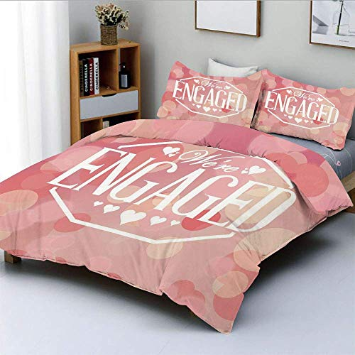 Qoqon Bettbezug-Set, Verlobungsfeier-Karten mit verschwommenen abstrakten KreisenDekoratives 3-teiliges Bettwäscheset mit 2 Kissenbezügen, Lachsrosa und Weiß, Kinder und Erwachsene