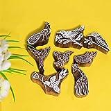 Hashcart Impresión de sellos de diseño de animales y pájaros bloques de madera Saree borde haciendo manualidades de cerámica