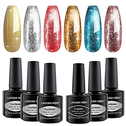 Lagunamoon Smalto in Gel UV LED, 6pcs Smalto Semipermanente per Unghie Set per Manicure - Glam on the go