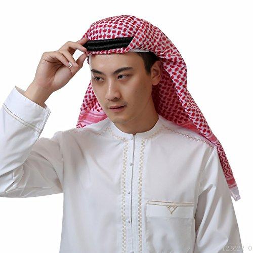 Mens Arab Keffiyeh Shemagh Desert Prince Head Wrap Scarf Middle Eastern Traditional Islamic Muslim Headwear (10# Red)