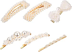 Pearls Hair Clips for Women Girls,6PCS Beaded Faux Pearls Hair Barrettes Bobby Pins Snap Clips Decorative Hair Accessories for Party Wedding Daily Gift