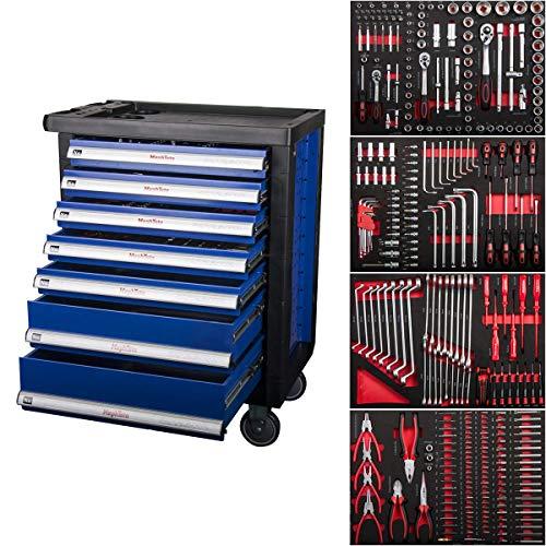 Pro-Line XXL Werkstattwagen Werkzeugwagen 7 Schubladen mit Soft Inlays und 4 mit Werkzeug wie Schraubenschlüssel, Ratsche mit Nusskasten, Schraubendreher usw.befüllten Schubladen von Mephisto