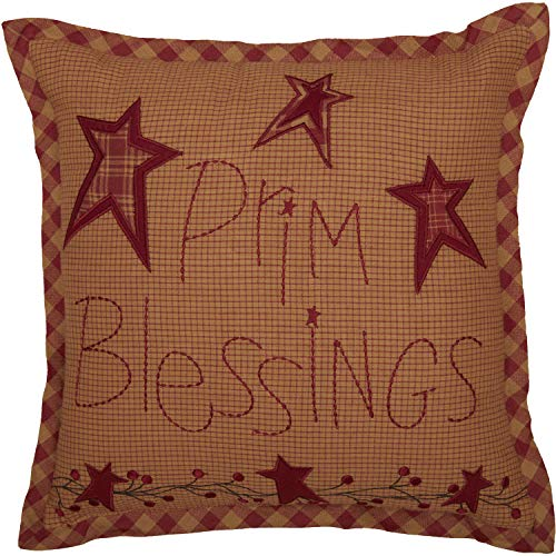 VHC Brands Ninepatch Star Prim Blessings Pillow 12x12 Country Bedding Accessory, Burgundy