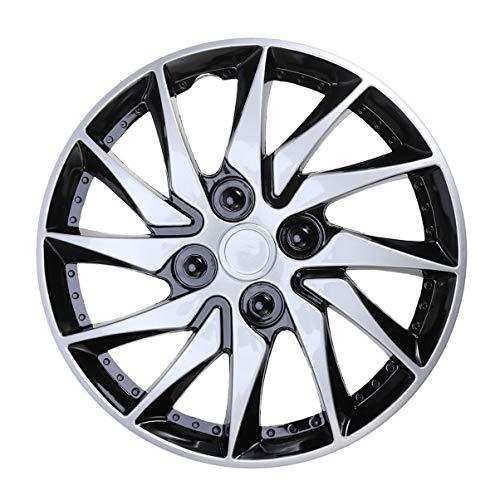 CLISPEED - Tapacubos de 14 pulgadas para llantas de coche, coche, coche, neumático, piezas de repuesto, color plateado