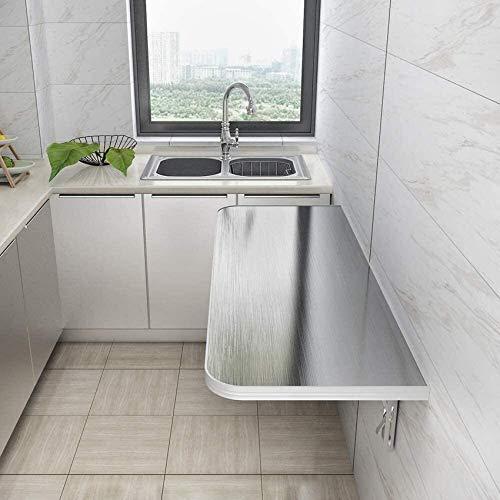 JFFFFWI Hochleistungs-Klappwandtisch - Klapp-Werkbank - Edelstahl-Klapptisch - Küchen-Esstisch Waschtisch - Maximale Belastung 100 kg Wandtisch (Farbe: 120 cm & mal; 40 cm)
