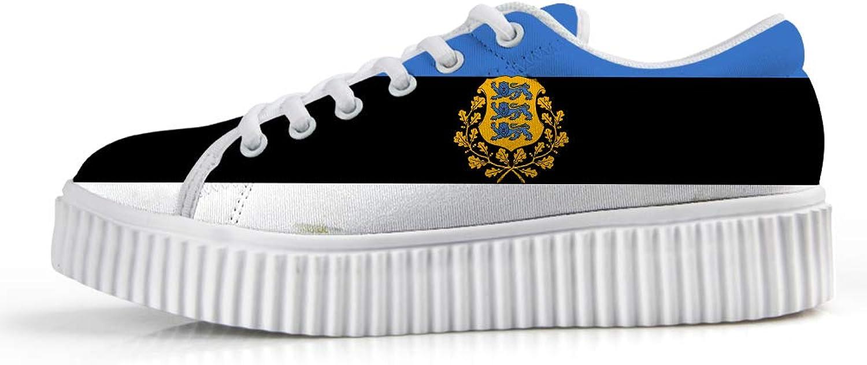 Owaheson Platform Lace up Sneaker Casual Chunky Walking shoes Low Top Women Estonia Flag National Emblem