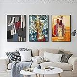 Abstracto Famoso Lienzo Pintura Picasso Gran Cartel Impresión 3 Piezas Colorido Pared Arte Decoración Grandes Cuadros Para Sala De Estar Decoración Del Hogar B 24'X32' No Frame
