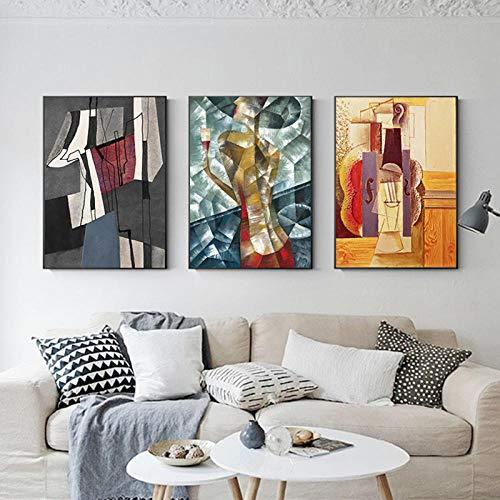 "Abstracto Famoso Lienzo Pintura Picasso Gran Cartel Impresión 3 Piezas Colorido Pared Arte Decoración Grandes Cuadros Para Sala De Estar Decoración Del Hogar B 24""X32"" No Frame"