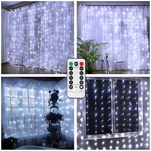 Battery Operated Curtain String Lights,300 LED Icicle Window Background Fairy Lights [Remote,8 Mode,Timer,9.8 ft