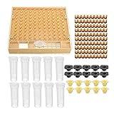 Bluelucon Kit Completo per Apicoltura, cupularve, Sistema per la Cattura, l'Allevamento, per allevare api Regina Set di Utensili da 100 Bicchieri, Non Include Scatola