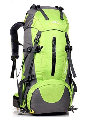 Minetom Sacs De Trekking 50L Adulte Extérieur Randonnée Camping Voyage Anti-Pluie Sports Imperméable Sac À Dos Vert One Size(30 * 20 * 60 cm)