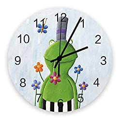 Prime Leader Wall Clock Non-Ticking 12 Inch Round Wooden Clock Green Frog with High Hat Silent Battery Operated Clock Decorative Living Room Hanging Clocks