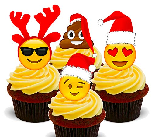 Made4You Kerstmis Emoji Eetbare Cupcake Toppers - Stand-up Wafer Cake Decoraties