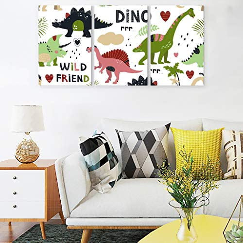 Veryday Dinosaurier Bilder auf Leinwand Wandbild Wandbilder 3 Teilig Kunstdrucke Kinderzimmer Babyzimmer Wanddeko für Mädchen Jungen ohne Rahmen Weiß 30x40 cm
