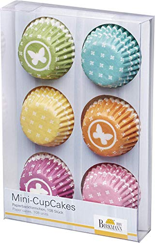 RBV Birkmann, 442207, Mini-Cupcake-Papierförmchen, sechs Farben, 108 Stück