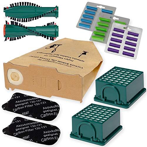 Staubsauger Sparset - 66 tlg. Set - 30 Staubbeutel, 4 Filter, Bürste, Duft passend für Vorwerk Kobold 130/131 - Bestleistung beim Saugen - Hochwertige Qualität