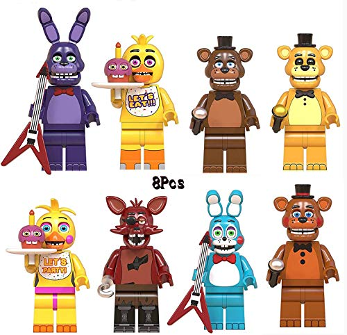 8 pcs Five Nights at Freddys Building Blocks Toys Five Nights FNAF Pizzeria Simulator Action Figure Toys Gift Set 6-7 Inch Action Figure Toys Gift Set