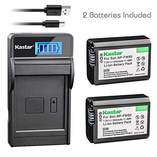 Kastar Battery (X2) & Slim LCD Charger for NP-FW50 and Sony Alpha 6300 Alpha 6500 ILCE-QX1 Alpha 7 7R 7R II 7S a7R a7S a7R II a5000 a5100 a6000 a6300 NEX-7 DSC-RX10 DSC-RX10 II III 7SM2 ILCE-7R 7S