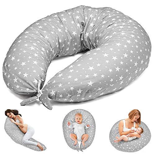 Cuscino Gravidanza per Dormire e Allattamento Neonato - cuscino premaman e Riduttore Lettino XXL (Grigio Con Stelle Bianche, Grande (165 x 70 cm))