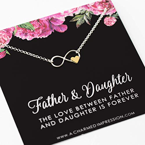 Father and Daughter Necklace • Infinite Love • 925 Sterling Silver • Infinity with Gold Heart • Birthday Memorial Remembrance Wedding • Gift for Daughter from Dad