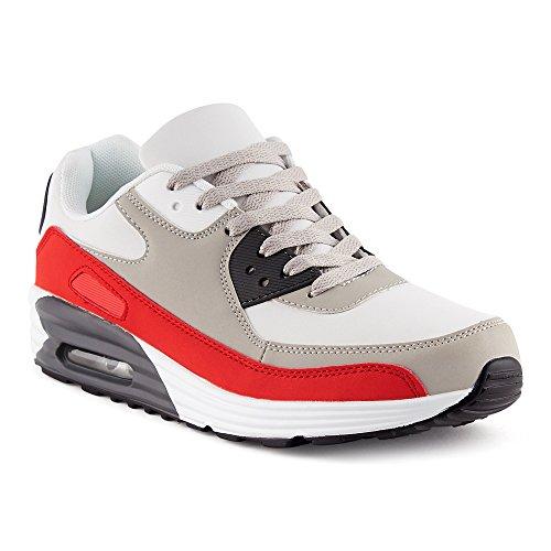 FiveSix Herren Damen Sportschuhe Dämpfung Sneaker Laufschuhe Rot/Grau/Weiss-M EU 44