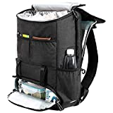 MIER Double Decker Insulated Backpack Cooler with Laptop Compartment Large Soft Leakproof Lunch Cooler Bag for Men Women to Picnics, Work, Travel, Hiking, Fishing, Beach Trip, Dark Grey