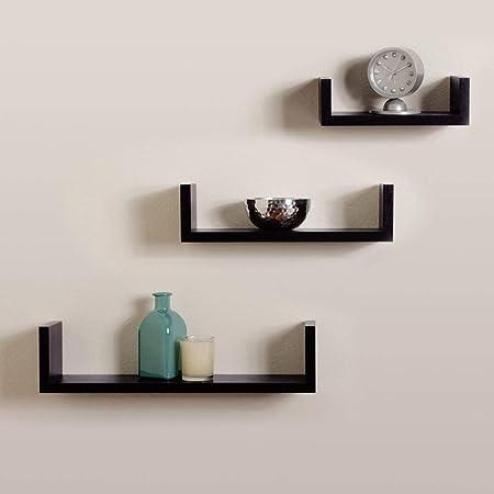 DECORVAIZ U Shape Dazzling Decorative Hanging Floating Display Shelves for Bedroom & Living Room & Office - Set of 3