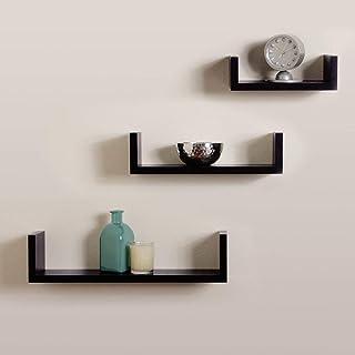 DECORVAIZ MDF Decorative Hanging Floating Display Shelves,Glossy Finish,Set Of 3,Black