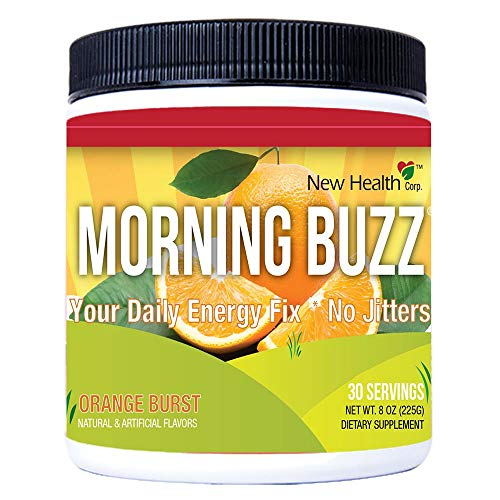 Morning Buzz Sports Energy Drink by New Health, Pre Workout, Sports Nutrition Drink, Supports Lasting Energy, Endurance, Mental Clarity, and Metabolism, 8 Ounce Powder Mix, 30 Servings (Orange)