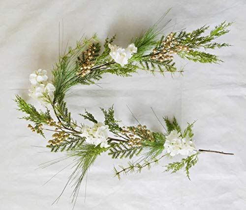 SHATCHI 1.5m Natural Looking Artificial Green Leaves, Golden Berries And White Hydrangea Flowers Garland Home Wall Door Mantel Fireplace Hanging Xmas Wedding Christmas Decorations, 150cm