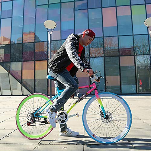 AURALLL Les Vélos de Route de Femmes et d'hommes, Adultes Seulement Fixe Engrenage Vitesse vélo en Aluminium Tige Design Souple Selle, mécanique Double Frein à Disque