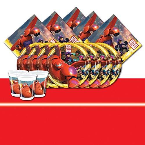 Kit de fête Les nouveaux héros pour 16 personnes avec nappe rouge