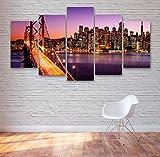 VKEXVDR Paisaje de Oakland Bay Bridge 5 Panel Lámina del Paisaje del Arte impresión en Lona Cuadros de la Pared de la Foto,para el hogar decoración Moderna impresión