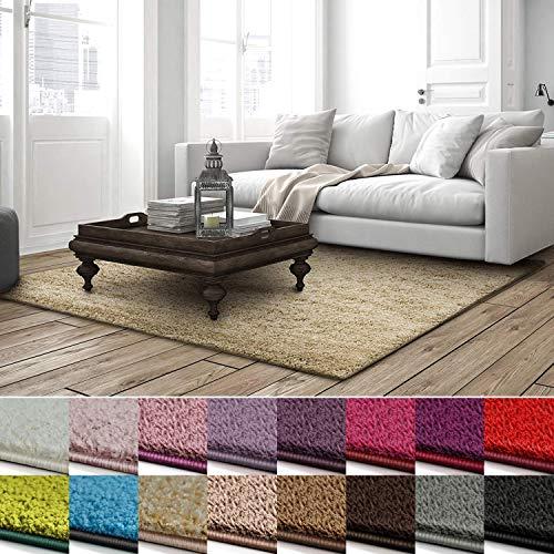 casa pura Shaggy Teppich Barcelona | weicher Hochflor Teppich für Wohnzimmer, Schlafzimmer, Kinderzimmer | GUT-Siegel + Blauer Engel | Verschiedene Farben & Größen | 66x130 cm | Beige
