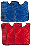 Scrimmage Vests - 12-Pack Soccer Pinnies, Team Jersey, Training Vest, Soccer Scrimmage Vests for Children Kids Adults, for Basketball, Football, Volleyball, Red and Blue, Above 12 Years Old