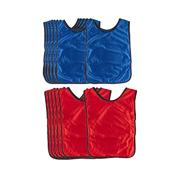 Scrimmage Vests – 12-Pack Soccer Pinnies, Team Jersey, Training Vest, Soccer Scrimmage Vests for Adults Men Women, for Basketball, Football, Volleyball, Red and Blue, 3-5 Years Old