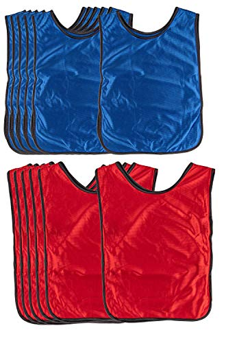 Scrimmage Vests - 12-Pack Soccer Pinnies, Team Jersey, Training Vest, Soccer Scrimmage Vests for Adults Men Women, for Basketball, Football, Volleyball, Red and Blue, Adults Over 180 Lbs